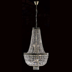 Metropolitan Eight-Light Antique Bronze Finish with Clear-Crystals Chandelier