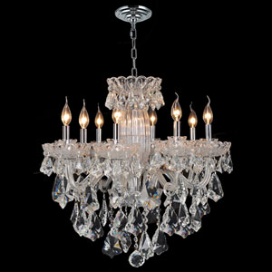 Olde World Eight-Light Chrome Finish with Clear-Crystals Chandelier