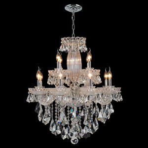 Olde World 12-Light Chrome Finish with Clear-Crystals Chandelier