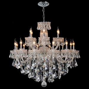 Olde World 18-Light Chrome Finish with Clear-Crystals Chandelier