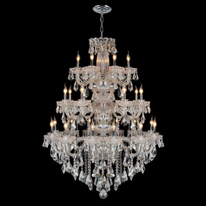 Olde World 23-Light Chrome Finish with Clear-Crystals Chandelier
