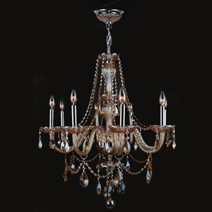 Provence Eight-Light Chrome Finish with Amber Crystal Chandelier