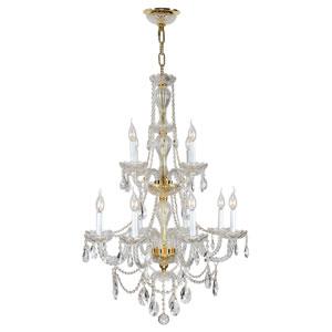 Provence Polished Gold Twelve-Light Chandelier