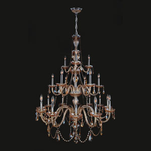 Provence 21-Light Chrome Finish with Amber Crystal Chandelier