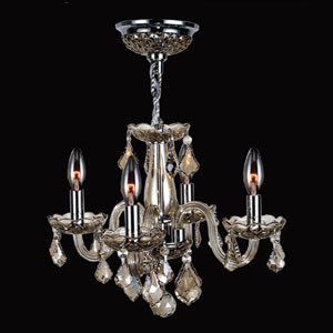 Clarion Four-Light Chrome Finish with Golden Teak Crystal Chandelier