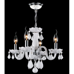 Clarion Four-Light Chrome Finish with White Crystal Chandelier
