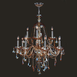 Provence 12-Light Chrome Finish with Amber Crystal Chandelier
