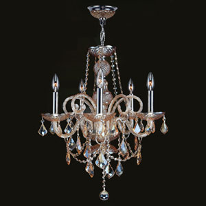 Provence Five-Light Chrome Finish with Amber Crystal Chandelier