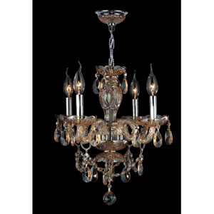 Provence Four-Light Chrome Finish with Amber Crystal Chandelier