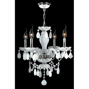 Provence Four-Light Chrome Finish with White Crystal Chandelier