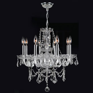 Provence Eight-Light Chrome Finish with Clear-Crystals Chandelier
