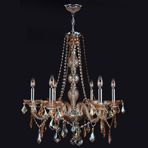 Provence Six-Light Chrome Finish with Amber Crystal Chandelier