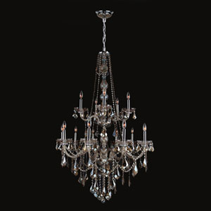 Provence 15-Light Chrome Finish with Golden Teak Crystal Chandelier