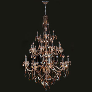 Provence 25-Light Chrome Finish with Amber Crystal Chandelier