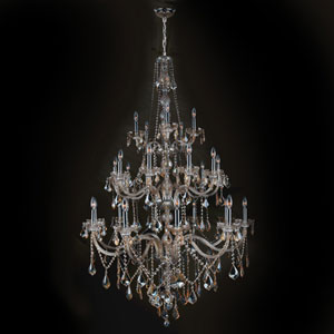 Provence 25-Light Chrome Finish with Golden Teak Crystal Chandelier