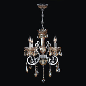 Kronos Four-Light Chrome Finish with Amber Crystal Chandelier