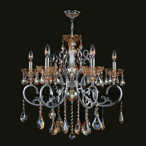 Kronos Six-Light Chrome Finish with Amber Crystal Chandelier