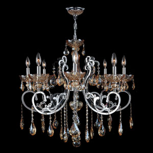 Kronos Eight-Light Chrome Finish with Amber Crystal Chandelier