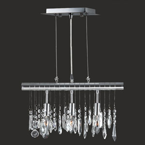 Nadia Three-Light Chrome Finish with Clear-Crystals Pendant