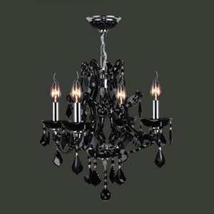 Lyre Four-Light Chrome Finish with Black Crystal Chandelier