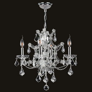 Lyre Four-Light Chrome Finish with Clear-Crystals Chandelier