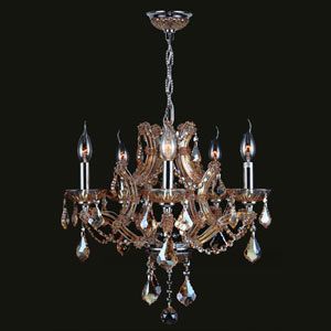 Lyre Five-Light Chrome Finish with Amber Crystal Chandelier