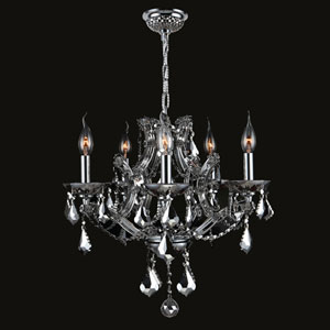 Lyre Five-Light Chrome Finish with Chrome Crystal Chandelier