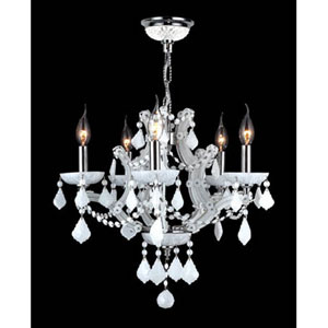 Lyre Five-Light Chrome Finish with White Crystal Chandelier