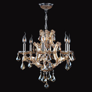 Lyre Six-Light Chrome Finish with Amber Crystal Chandelier