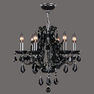 Lyre Six-Light Chrome Finish with Black Crystal Chandelier