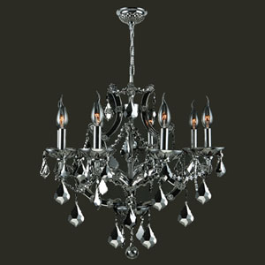 Lyre Eight-Light Chrome Finish with Chrome Crystal Chandelier