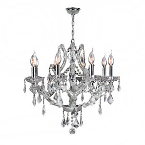Lyre Polished Chrome Eight-Light Chandelier