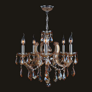 Catherine Five-Light Chrome Finish with Amber Crystal Chandelier