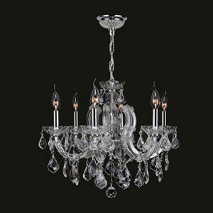 Catherine Six-Light Chrome Finish with Clear-Crystals Chandelier