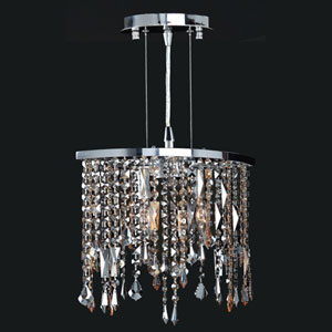 Fiona Two-Light Chrome Finish with Multi-Colored Crystal Pendant
