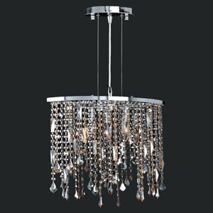 Fiona Three-Light Chrome Finish with Multi-Colored Crystal Pendant