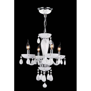 Gatsby Four-Light Hand-blown Glass Chrome Finish with White Crystal Chandelier