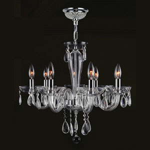 Gatsby Eight-Light Hand-blown Glass Chrome Finish with Clear-Crystals Chandelier