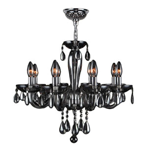 Gatsby Polished Chrome Eight-Light Chandelier with Smoke Crystal