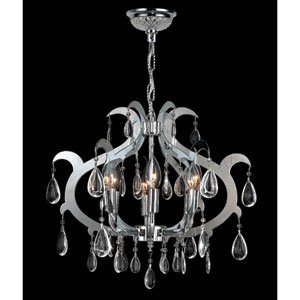 Henna Six-Light Chrome Finish with Clear-Crystals Chandelier