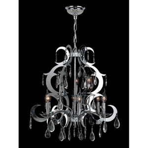 Henna Nine-Light Chrome Finish with Clear-Crystals Chandelier