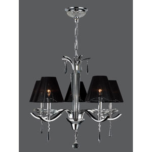 Gatsby Five-Light Chrome Finish with Clear-Crystals Chandelier