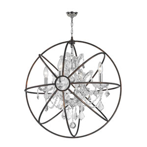 Armillary Polished Chrome Four-Light Chandelier with Clear Crystal