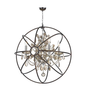 Armillary Polished Chrome Four-Light Chandelier with Golden Teak Crystal