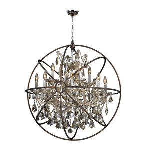 Armillary Polished Chrome 13-Light Chandelier with Golden Teak Crystal