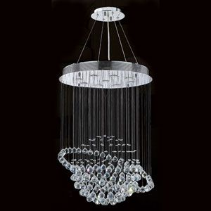 Saturn Nine-Light Chrome Finish with Clear-Crystals Chandelier