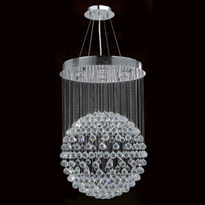 Saturn Seven-Light Chrome Finish with Clear-Crystals Chandelier