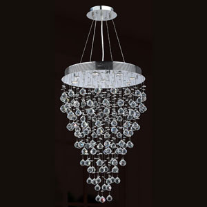 Icicle Nine-Light Chrome Finish with Clear-Crystals Chandelier