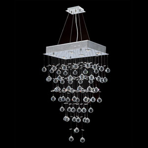 Icicle Six-Light Chrome Finish with Clear-Crystals Chandelier