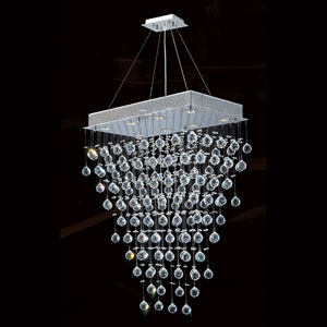 Icicle Eight-Light Chrome Finish with Clear-Crystals Chandelier